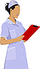 Nurse woman with white doctor`s smock.