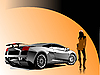 Vector clipart: Automobile show with concept-car and girl