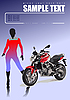 Vector clipart: Motorcycle and gir