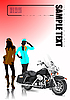 Vector clipart: Motorcycle and two girls