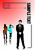 Vector clipart: Cover for brochure with man and two girls