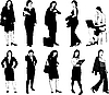Vector clipart: Businesswomen silhouettes