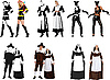Vector clipart: Black and white and colored people