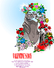 Vector clipart: Floral Valentine`s Day Greeting card