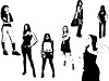 Vector clipart: Black and white pretty girls silhouettes