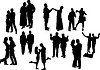 Vector clipart: Black and white ten couples silhouettes