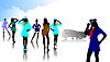 Vector clipart: Stewardess silhouettes