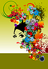 Vector clipart: Floral woman silhouette