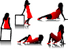 Vector clipart: Five women in red silhouettes
