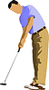Vector clipart: Golfer hitting ball with iron club.