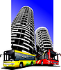 Vector clipart: City transport on city background. Buses.