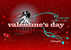 Vector clipart: Valentine`s Day red background with tango pair