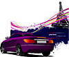 Vector clipart: Purple cabriolet car with Paris Eiffel tower background.