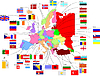 Vector clipart: Map of Europe with flags