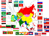 Vector clipart: Map of Asia with flags