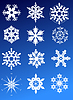 Vector clipart: Twelve snowflakes