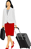 Vector clipart: Business woman with suitcase.