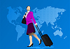 Vector clipart: Business woman with suitcase on world map