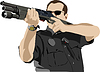 Vector clipart: policeman preparing to shoot with automatic rifle
