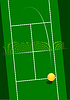 Vector clipart: Tennis court with serving ball