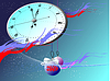 Vector clipart: Snowflakes, clock and balls. Christmas