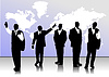 Vector clipart: Business handsome men silhouettes