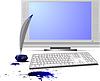 Vector clipart: display and keyboard