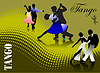 Vector clipart: Three couples dancing tango