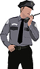 Vector clipart: Policeman communicate by walkie-talkie radio