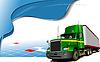 海报与绿色货车 | 向量插图