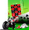 Vector clipart: Casino elements with motorcycle