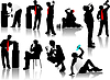 Vector clipart: Drinking Men silhouettes