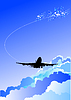 Vector clipart: Landing airplane