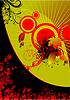 Векторный клипарт: Цветочные гранж черно-красном фоне