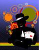 Vector clipart: illusionist in the scene