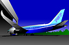 Vector clipart: Airplane in airport