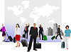 Vector clipart: Business men with suitcases on world map