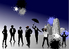 Vector clipart: People with hats silhouettes