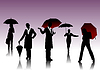 Vector clipart: Women with umbrella silhouettes