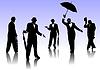 Vector clipart: Men with umbrella silhouettes