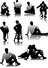 Vector clipart: Sitting Men silhouettes