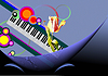 Abstract background with piano keyboard