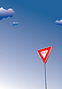 Yield sign. Traffic road sign symbol