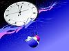 Vector clipart: Snowflakes, clock and Christmas ball