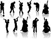 Vector clipart: Jazzmen silhouettes