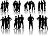 Vector clipart: People silhouettes. Trio