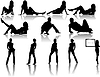 Vector clipart: 12 girl silhouettes