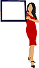 Vector clipart: Young woman with note board