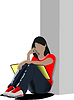 Vector clipart: Schoolgirl sitting and reading. Back to school. illustrat