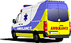 Vector clipart: Modern ambulance van over white.